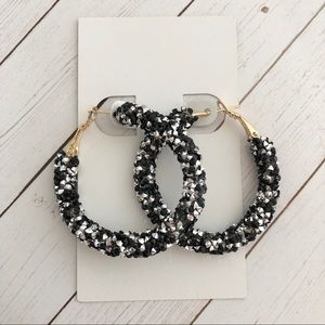 New Black and Silver Glitter Sparkly Hoops
